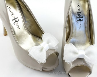 White Shoe Clip, White Bow Shoe Clips, White Bow Clip Shoes, White Wedding Accessories