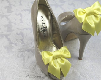 Yellow Shoe Clip, Yellow Satin Bow Shoe Clips, Yellow Wedding Accessories Shoes Clip