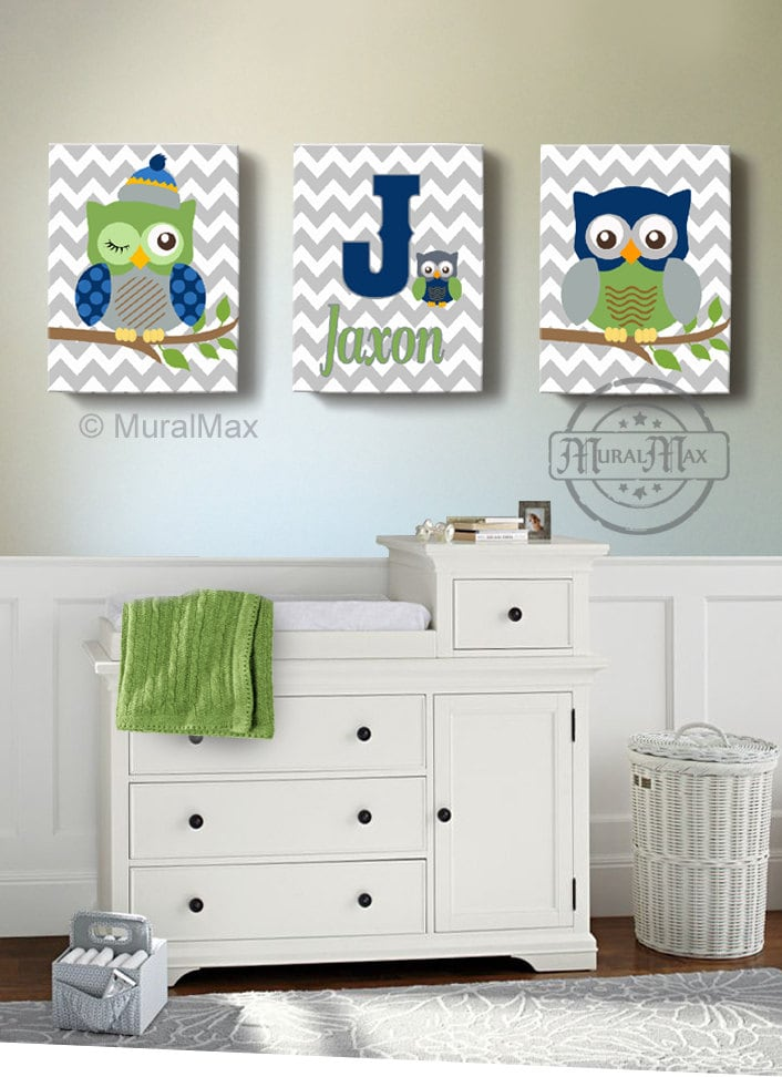 Boys wall art baby nursery decor owl canvas art owl canvas for Boys wall art