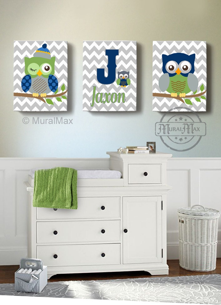 Boys wall art baby nursery decor owl canvas art owl canvas for Room decor etsy