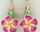 Handmade hawaiian flower plumeria polymer clay earrings