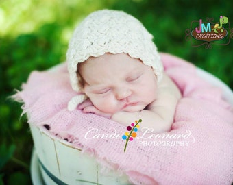 Victorian Bonnet - Newborn through 12 months - Crochet