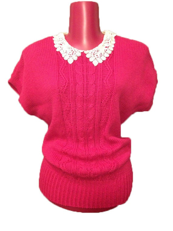 Vintage Pink Sweater with White Peter Pan Collar
