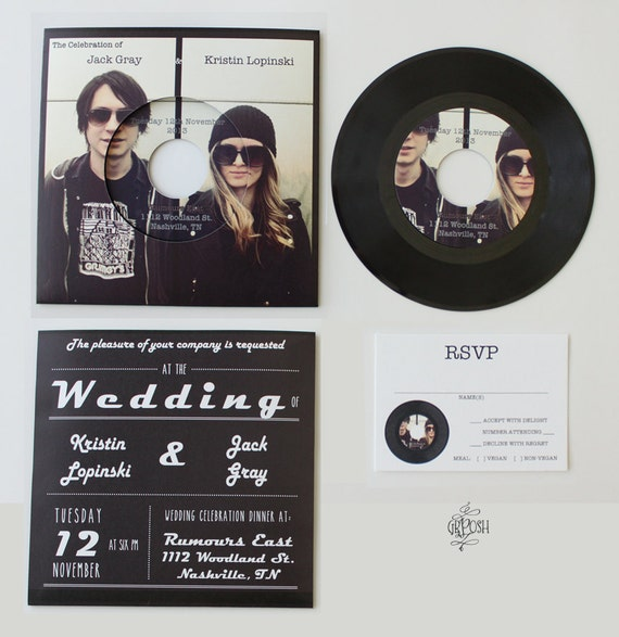 Items similar to custom 7in vinyl record wedding for Etsy vinyl wedding invitations