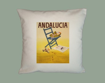 Vintage Andalucia Travel Poster Handmade  16x16 Pillow Cover - Choice of Fabric