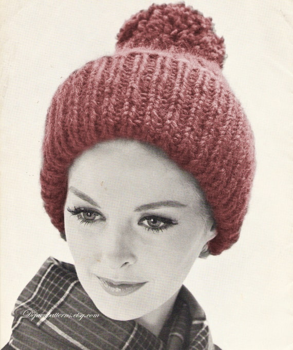 Knit Pom Pom Hat Pattern : Pom Pom Knitted Hat Knitting Pattern INSTANT by DejaVuPatterns
