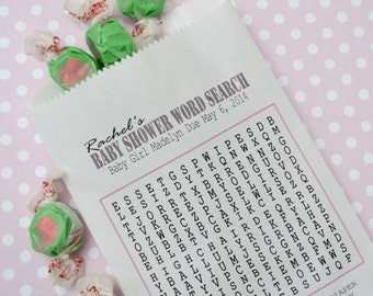 Pink Baby Shower Goodie Bags: 20 Personalized Word Search Shower Game