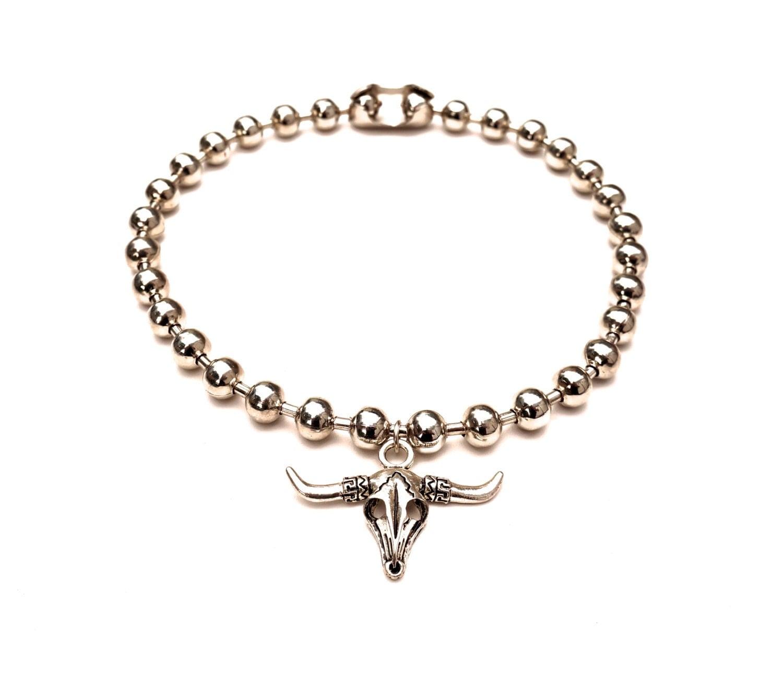 silver bull skull necklace by crossstreetjewelry on etsy