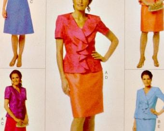Women Ruffled Jacket Skirt Flared Dress Sewing Pattern Wardrobe Separates Butterick B5718 Uncut Factory Folds Size 6 8 10 12 14