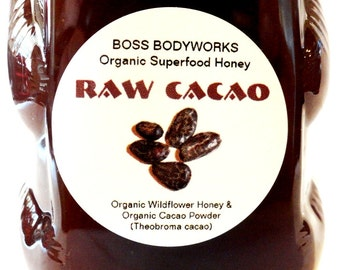 Organic RAW CACAO Superfood Honey -12 oz- non-GMO, kosher, fair trade, chocolate herbal infused wildflower honey bear squeeze bottle