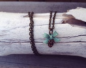 Pine Cone & Green Bow Necklace - Woodlandia - Vintage Style