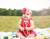 Hot Pink Lace Petti Romper and Headband Set, Baby Romper, Pettiromper, Smash Cake Birthday Outfit, Vintage Clothing
