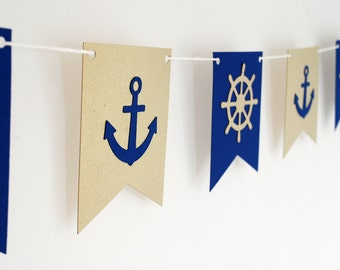 Nautical theme Garland- Navy and Gold  5ft