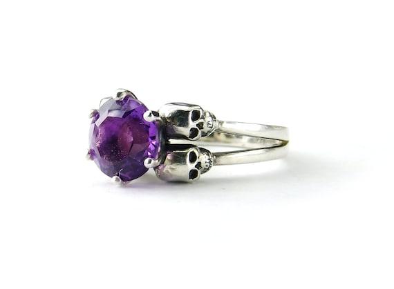 Valentine Skull Ring Size 6.75 READY TO SHIP Sterling Amethyst Goth Dark Engagement Ring Violet Purple February Birthstone Ring February