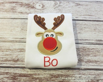 Cute Christmas Reindeer Appliqued Shirt - Embroidered Shirt, Holiday, Christmas, Boys, Girls, Personalized, Monogram
