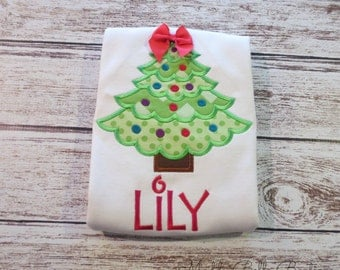 Cute Christmas Tree Appliqued Shirt - Embroidered Shirt, Personalized, Monogram, Holiday, Christmas, Girls, Toddler, Christmas Shirt