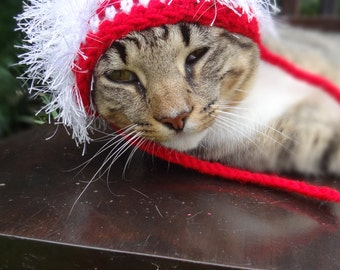 Christmas Cat Hat - Christmas Cat Costume - The Wackadoodle Christmas Hat for Cats and Small Dogs - Christmas Hat for Cats