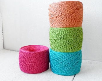 Laceweight crochet thread - bright collection - pink, turquoise, green, peach
