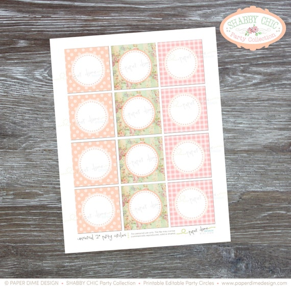 INSTANT DOWNLOAD - Editable and printable 2 inch party circles: Shabby Chic, Vintage, Birthday, Baby Shower, - Type your own text and print