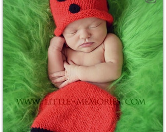 Handmade Knitted Newborn Baby Ladybird Set