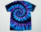 Tie Dye Shirt Moon Shadow Spiral Blue, Purple, Black