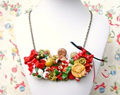 Gingerbread Christmas Necklace, Polymer Clay Food, Gingerbread Man Necklace, Christmas Jewellery, Kawaii Christmas