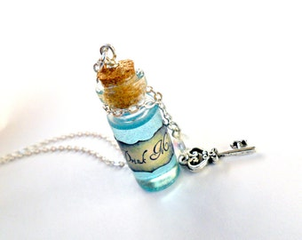 Alice In Wonderland Drink Me Bottle Charm Necklace, Silver Plated Necklace, Cute, Kawaii :D