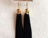 Tassel Earrings - Chandelier/Fringe - Black/Gold