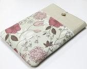 Laptop Case  MacBook Air 13, Grey pink floral, Meadow flowers, Macbook Pro 13, Macbook Retina 15, custom laptop size, padded laptop sleeve