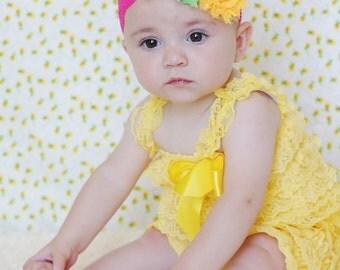 yellow baby lace romper and headband SET, petti romper,baby headband,flower headband,vintage inspired headband and lace petti romper