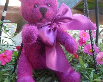 "Pink Teddy Bear Alpaca Needle Felted 8"" with Ribbon"