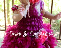OOAK plum lace and feather dress comes with matching hot pink headband pageant holiday dress 3mo - 6t vintage look