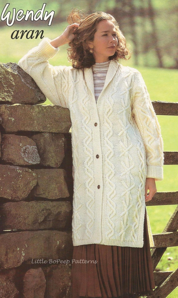 Knitting Pattern Ladies Long Coat : Ladies Aran Long Line Coat Jacket PDF Aran knitting pattern