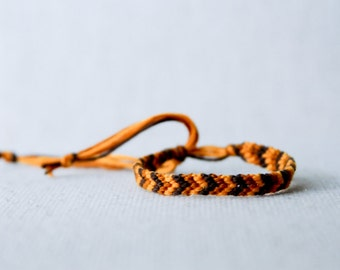 Friendship Bracelet Chevron Brown and Mustard Embroidery Thread Bracelet