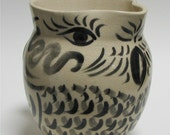 Owl Design Handpainted White Stoneware Pitcher Black and Gray