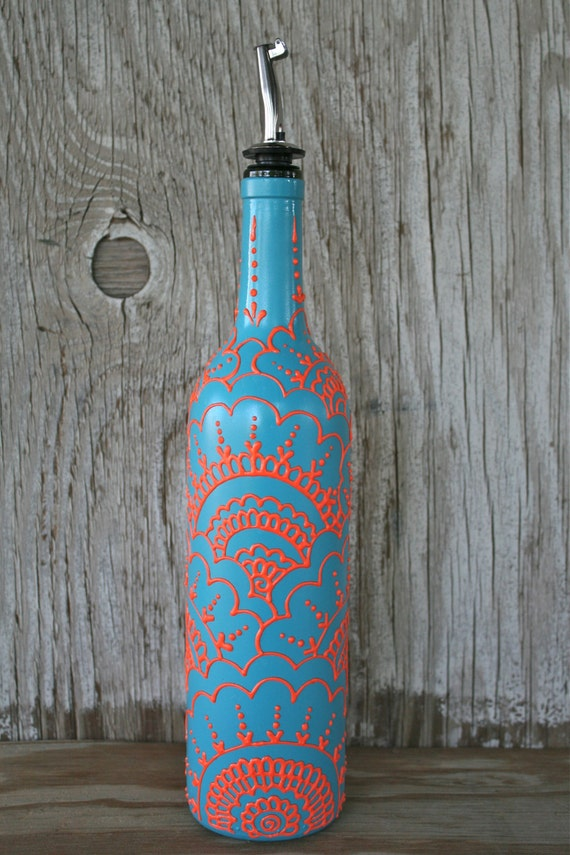 Cot In A Box Morocco Turquoise: Hand Painted Wine Bottle Olive Oil Dispenser By LucentJane