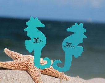 Mr and Mrs Seahorse Wedding Cake Topper- Beach wedding - Bride and Groom - Rustic Country Chic Wedding