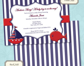 Nautical Baby Shower Invitation - Printable Digital File - Choose Your Color (Print Your Own)