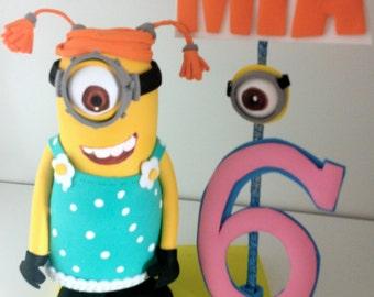 Despicable me  minions centerpiece cake topper  Birthday decor Stuart Minion