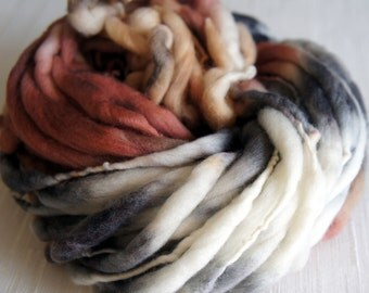 SALE: Handspun Yarn, Thick and Thin Yarn, French Merino Art Yarn, knitting supplies crochet supplies, thick n thin, Gray and Brown