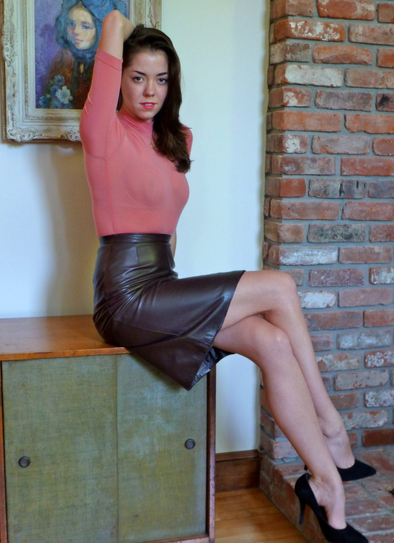 Prada Leather Skirt Glove Soft Expresso Brown Pencil Slender