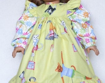 Yoga Cat, 18 Inch Doll Clothes, Pinafore Dress, yellow and pink, floral