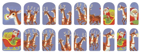 Christmas Reindeer Nail Stickers with Vintage Santa and Rudolph