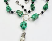 Necklace Green Howlite Large Nuggets Gift 436