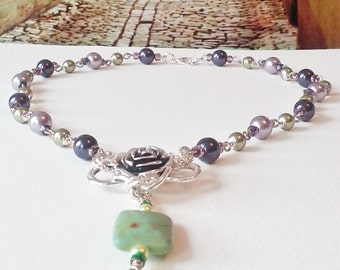 Necklace Purple Green Pearls Jade Stone Silver Rose Gift