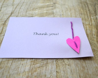 Thank you Card with heart - baby shower greeting card- baptism card- purple greeting card- 10 pcs