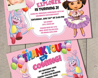 Dora The Explorer Birthday DIY Printable Invitation and Thank You Card Set by Carta Couture