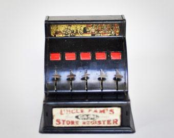 Toy Cash Register, Uncle Sam's Antique Tin Bank