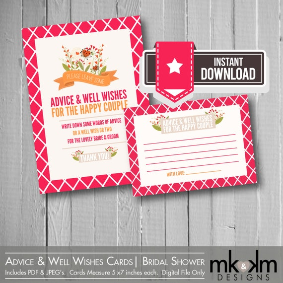 Advice Amp Well Wishes Cards Rustic Floral Bridal By MKKMDesigns