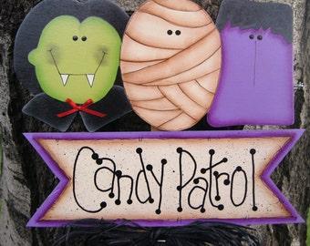 Frankenstein, Mummy, Dracula Halloween Yard Stick - Wood Halloween Sign Decoration